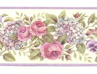 Purple Pink Green Country Floral Wallpaper Border GU92103B Chesapeake