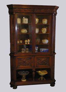 Antique Quarter Oak Corner Hutch China Cabinet Two Piece Curio