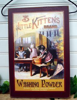 Laundry Room Sign Vintage Washing Powder Advertising Label 3 Little Kittens