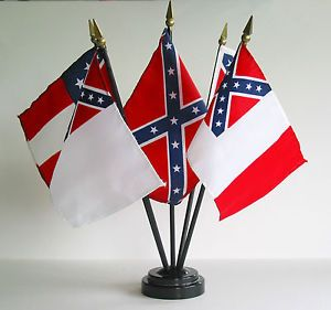 Confederate Flag Desk Set 5 Flags Base Stand 4x6 Rayon Miniature Set Civil War