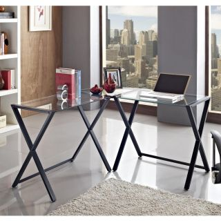 New Modern x Frame Glass and Metal Desk L Shaped Black Frame Clear Glass