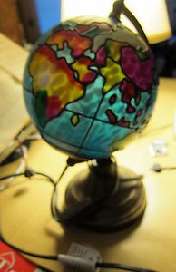 World Globe Lamp Very Colorful Tiffany Style Stained Glass Desk Lamp Nightlight