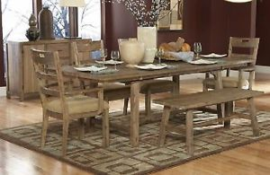 Weathered Driftwood Dining Table Tweed Chairs Dining Room Furniture Set