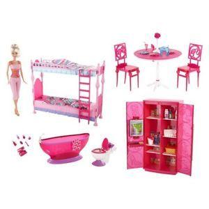 New Barbie Glam Refrigerator Furniture Set Fridge Kitchen Accessories