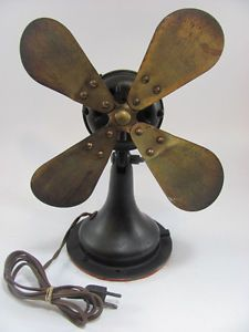Vintage Westinghouse 10 inch Electric Fan 4 Brass Blades Articulating Head