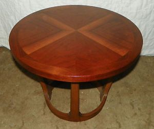 Round Walnut End Table Side Table by Lane T70