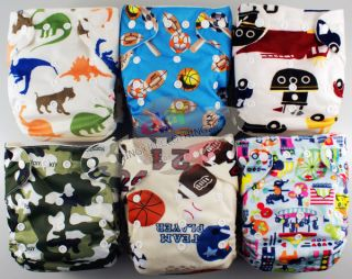 "Cute re Usable Bamboo Baby Diaper Cloth Nappy Bamboo Insert ""for Boys""6 Patterns"