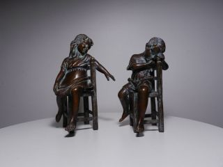 Vintage Set of Two Bronze Sculptures Figurines of Children Sitting on Chairs