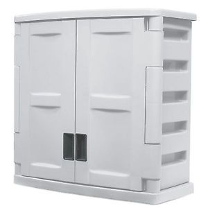 Suncast Utility 2 Door Garage Wall Storage Cabinet One Shelf Garage Outdoor