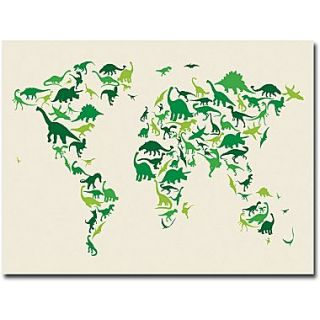 Michael tompsett childrens world map canvas art trademark global michael tompsett dinosaur world map canvas art 35 x 47 gumiabroncs Image collections