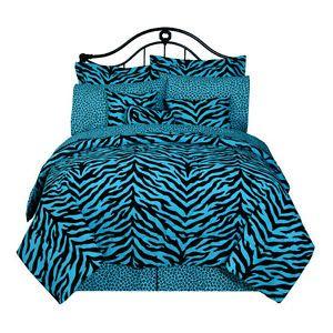 Bed in A Bag Blue Black Zebra Print Comforter Sheets Pillows Drapes More
