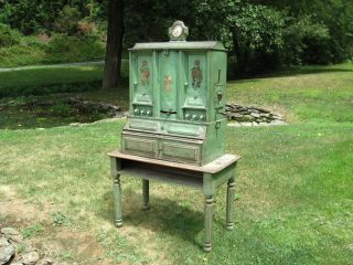 Antique Folk Art Metal Hoosier Kitchen Spice Pantry Cabinet with Farm Table