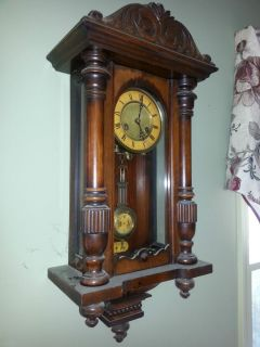 Antique German Wall Clock with R A Pendulum