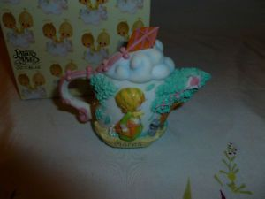 Vintage 1999 Avon Exclusive Precious Moments March Miniature Teapot Figurine