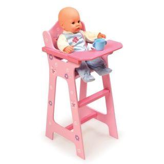 Blossoms Butterflies Wooden Pink Doll High Chair Kids Baby Doll Furniture