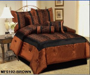 5 Piece Bed in A Bag Twin Brown Leopard Animal Print Comforter Set Shams Pillow