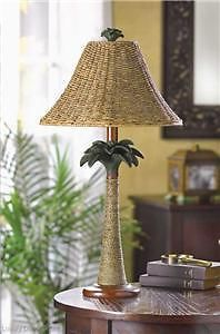 Woven Wicker Grass Rattan Palm Tree Tropical Bedside End Table Lamp Rope Shade