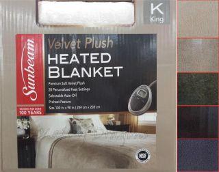 Sunbeam Luxurious Premium Soft Velvet Plush Heated Throw Blanket King 100x90