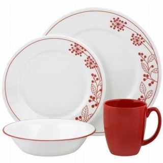 New in Box Corelle Vive 16 Piece Vitrelle Dinnerware Set Berries and Leaves