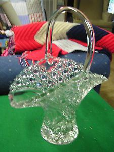"Vintage 12 "" Lead Crystal Cut Glass Basket Bowl Vase Diamonds Buttons Design"