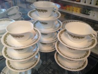 Lot of 70 Pcs Vintage Corelle Pyrex Dinnerware Dishes Set in Spring Blossom