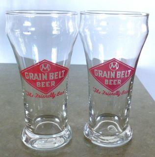 """Vintage Pair of Grain Belt Beer 5 5"""" Glasses """"The Friendly Beer"""