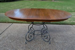 Ethan Allen Legacy Maple Dining Table Forged Metal Base 13 6313 213 Russet