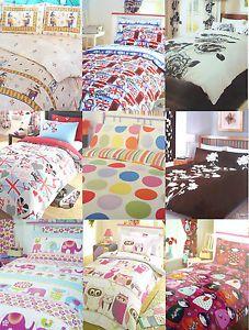 Vintage Retro Shabby Chic Bedding Double Duvet Cover Set Various Colors Prints