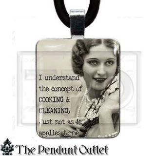 Vintage Housewife Retro Photo Wife Friend Cute Funny Art Charm Pendant Necklace