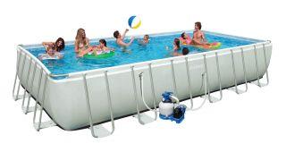"Intex 24' x 12' x 52"" Ultra Frame Rectangular Swimming Pool Set 54977EG"
