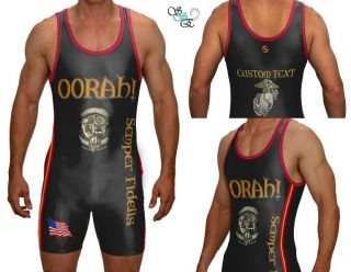 Oorah Marine Corp USMC USA Bulldog Wrestling Singlet Adult Custom Text