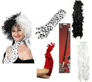 Cruella DeVille Wig Cigarette Holder Gloves de vil Fancy Dress Choose Item