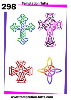 Celtic Crosses Temporary Tattoo Stencil 298