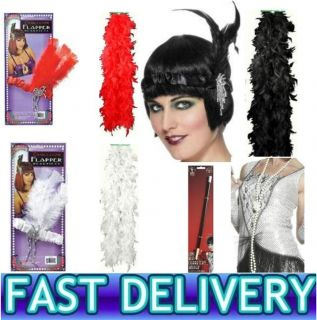 1920s Gangster Flapper Headband Feather Boa Cigarette Holder Pearl Necklace