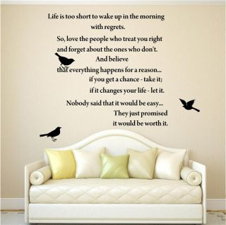 Life Quote Inspirational Poem Birds Wall Art Sticker Decal Transfer Mural