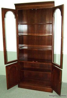 5958 Ethan Allen Georgian Court Bookcase Wall Unit Cabinet Curio Display Lighted