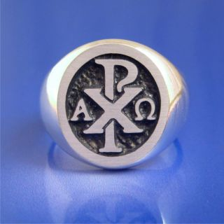 Chi Rho Alpha Omega Ring Solid Sterling Silver Size 8 to 13