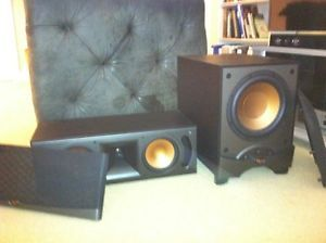 Klipsch RW 10 Powered Subwoofer and RC 35 Center Channel Speaker