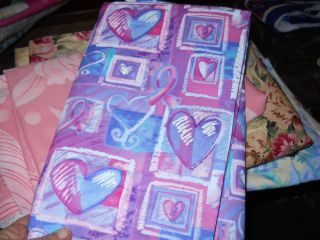 44 inch Wide by 2 yds 2 ft Long Breast Cancer Pink Ribbon and Heart Cotton