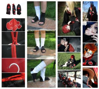 Cloak Shoe Ring Headband Madara Obito Itachi Akatsuki Cosplay Costumes Halloween