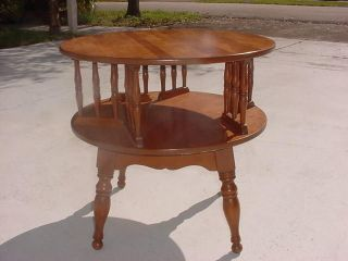 Ethan Allen Heirloom Revolving Drum Table Early American Furniture