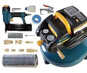 3 Gal Air Compressor with 2 in Brad Nailer 10 PC Accessory Kit Home Reno