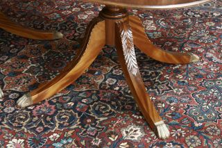 Long Mahogany Dining Table in Walnut Finish Reproduction Antique Dining Room