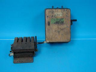 Lot 2 Antique Telephone Generators Graham Bell Wood Magneto Phone Hand Crank