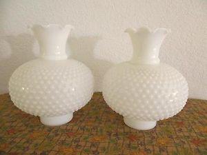 Pair Vintage Fancy Hobnail Milk Glass Hurricane Oil Lamp Light Shades Nice Shade