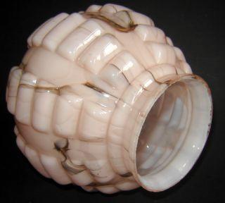 Old Art Deco Loetz Caramel Pink Glass Lamp Shade Globe Unusual Shape
