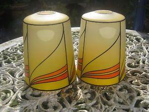 Pair of Art Deco Glass Lamp Shades Very Stylish Orange Yellow Black