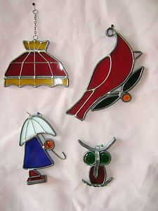 X4 Vintage Tiffany Style Stained Glass Suncatcher Owl Cardinal Girl Lamp Shade