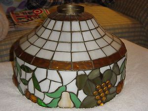 Stained Glass Lamp Shade Vintage Fruit Design Cream Gold Green