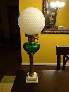 Antique Lamp Marble Base Brass Green Glass and Milk Glass Shade